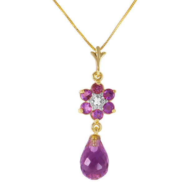 Ladies 14K Solid Gold Necklace with Amethysts & Diamond - Fashion Strada