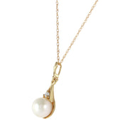 Ladies 14K Solid Gold Necklace with Diamond & Pearl - Fashion Strada