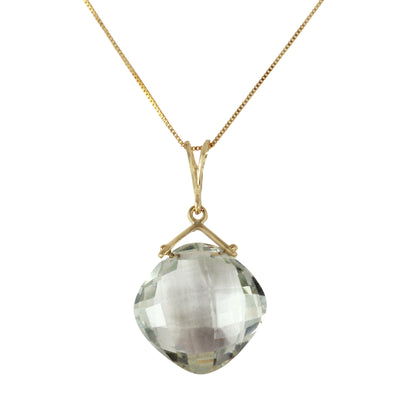 Ladies 14K Solid Gold Distant Lover Green Amethyst Necklace - Fashion Strada