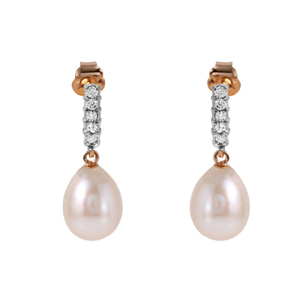 Ladies 14K Rose Gold Earrings with Diamonds & Pearls - Fashion Strada