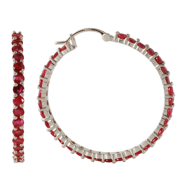 Ladies 14K White Gold Love Is A Stage Ruby Earrings - Fashion Strada