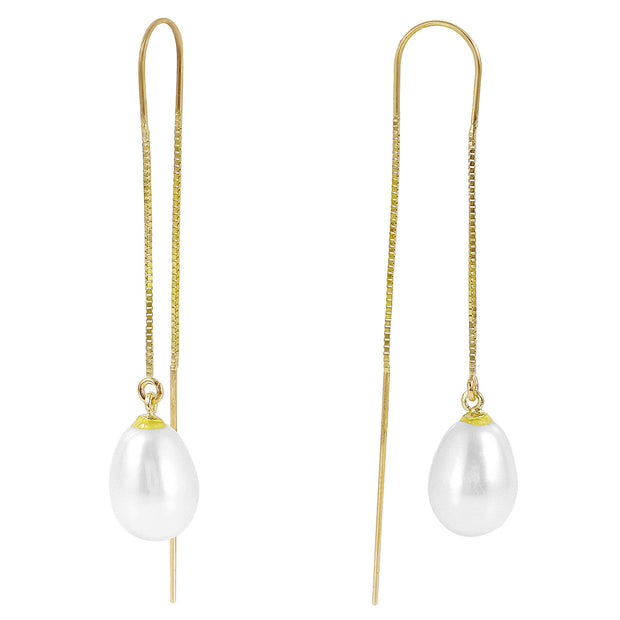 Ladies 14K Solid Gold Threaded Dangles Earrings with Pearls - Fashion Strada