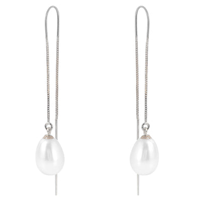 Ladies 14K White Gold Threaded Dangles Earrings with Pearls - Fashion Strada