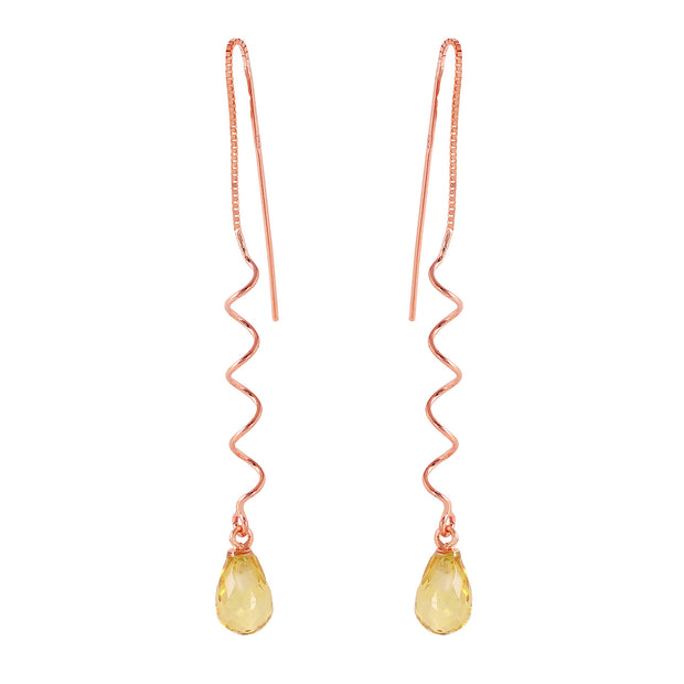 Ladies 14K Rose Gold Here To Eternity Citrine Earrings - Fashion Strada