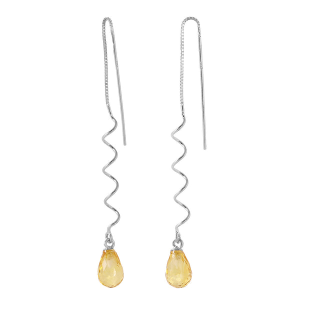 Ladies 14K White Gold Here To Eternity Citrine Earrings - Fashion Strada