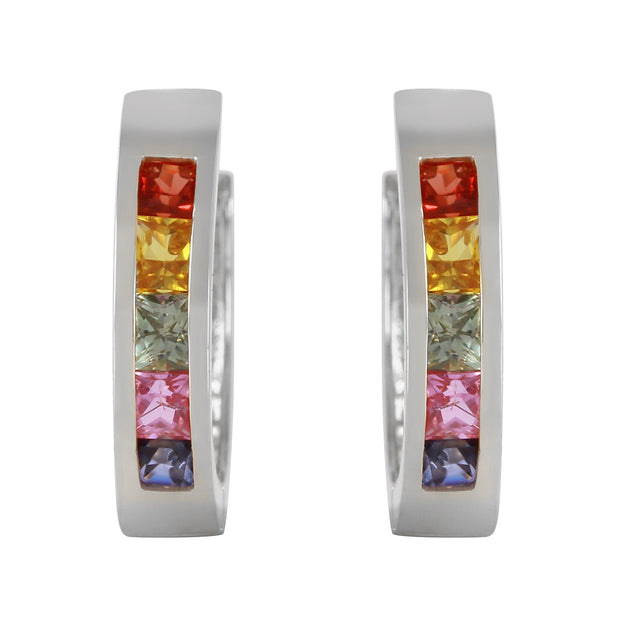 Ladies 14K White Gold Color Palette Multi Color Sapphire Earrings - Fashion Strada
