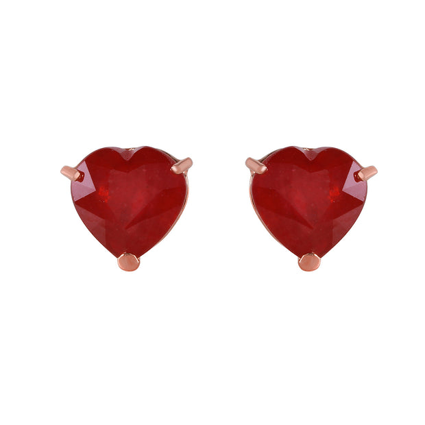 Ladies 14K Rose Gold Stud Earrings with Heart Rubies - Fashion Strada