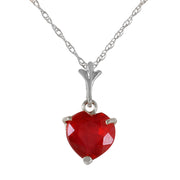 Ladies 14K White Gold Necklace with Heart Ruby - Fashion Strada