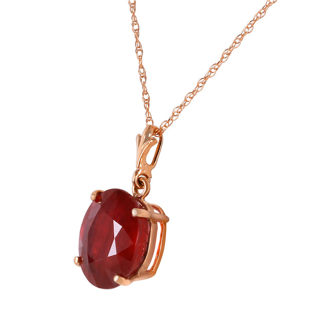 Ladies 14K Rose Gold Necklace with Oval Ruby - Fashion Strada