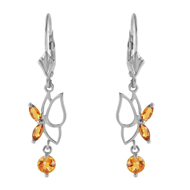 Ladies 14K White Gold Irena Citrine Earrings - Fashion Strada