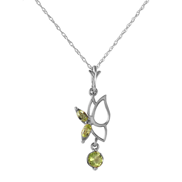 Ladies 14K White Gold Make A Buzz Peridot Necklace - Fashion Strada