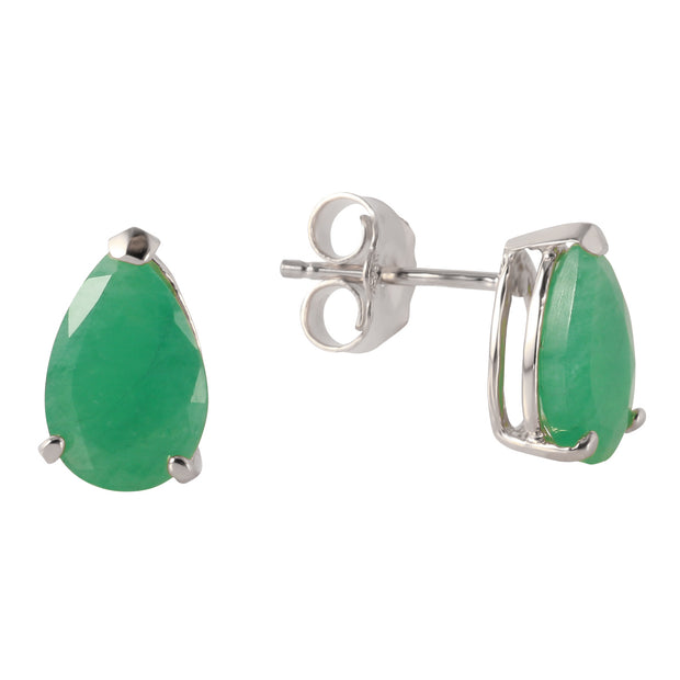 Ladies 14K White Gold Temptation Near Emerald Earrings - Fashion Strada