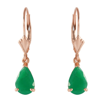 Ladies 14K Rose Gold Extravaganza Emerald Earrings - Fashion Strada