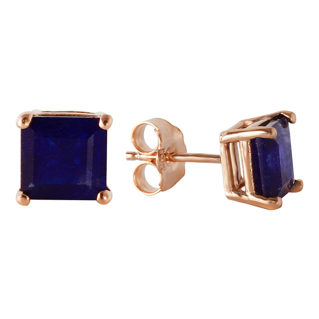 Ladies 14K Rose Gold My Last Love Sapphire Earrings - Fashion Strada