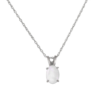 Ladies 14K White Gold At Your Best Opal Necklace - Fashion Strada