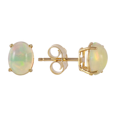 Ladies 14K Solid Gold Pina Colada Opal Earrings - Fashion Strada
