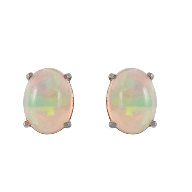 Ladies 14K White Gold Yours To Love Opal Earrings - Fashion Strada