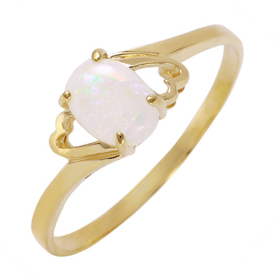 Ladies 14K Solid Gold Nearly Bare Opal Ring - Fashion Strada