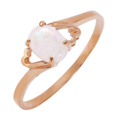 Ladies 14K Rose Gold Ring with Opal - Fashion Strada