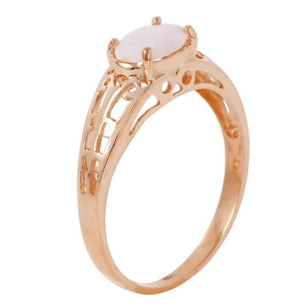 Ladies 14K Rose Gold Filigree Ring with Opal - Fashion Strada