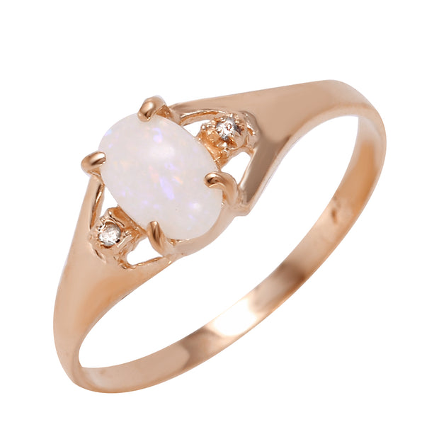 Ladies 14K Rose Gold Rings with Diamonds & Opal - Fashion Strada