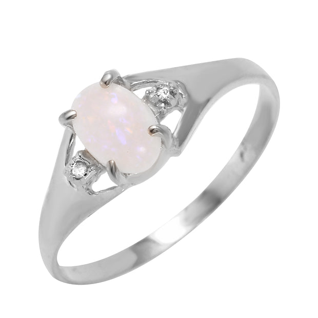 Ladies 14K White Gold Rings with Diamonds & Opal - Fashion Strada
