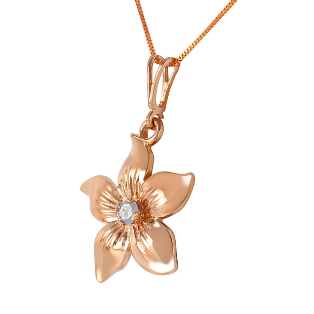 Diamond 14K Rose Gold Ladies Necklace - Fashion Strada