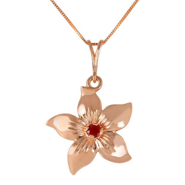 Ladies 14K Rose Gold Flower Necklace with Ruby - Fashion Strada