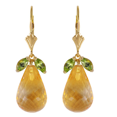 Ladies 14K Solid Gold Lever Back Earrings with Peridots & Citrines - Fashion Strada