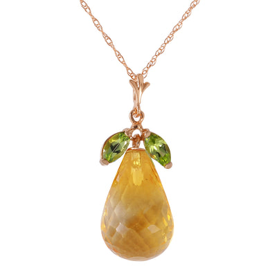 Ladies 14K Rose Gold Necklace with Peridots & Citrine