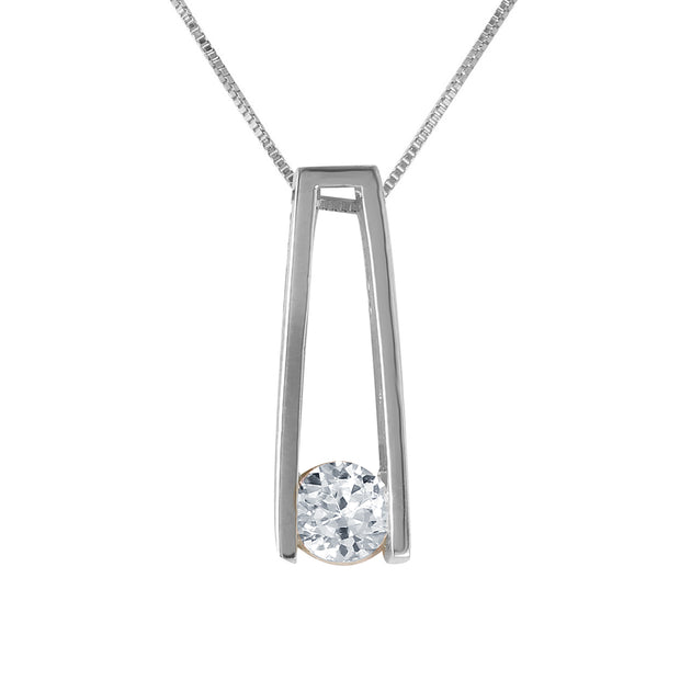 Diamond 14K White Gold Ladies Necklace - Fashion Strada