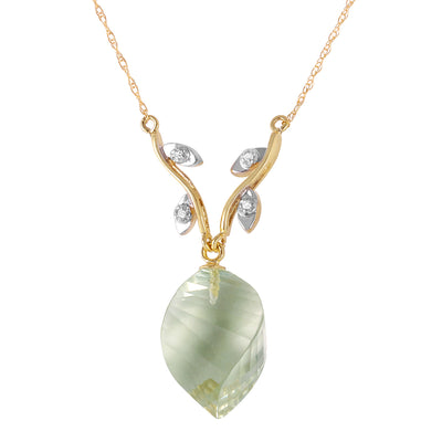 Ladies 14K Solid Gold La Belle Vie Green Amethyst Necklace