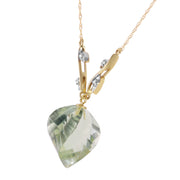 Ladies 14K Solid Gold La Belle Vie Green Amethyst Necklace - Fashion Strada