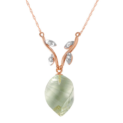 Ladies 14K Rose Gold Romance Green Amethyst Diamond Necklace - Fashion Strada
