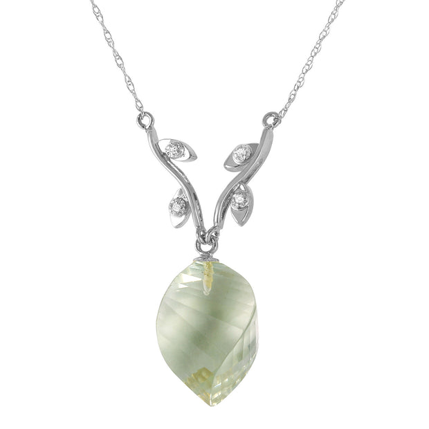 Ladies 14K White Gold Scattered Fragments Green Amethyst Necklace
