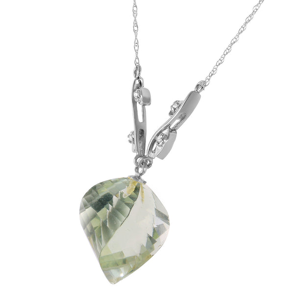 Ladies 14K White Gold Scattered Fragments Green Amethyst Necklace - Fashion Strada