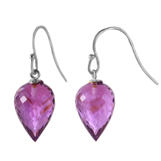 Ladies 14K White Gold FISH HOOK Earrings WITH AMETHYSTS - Fashion Strada