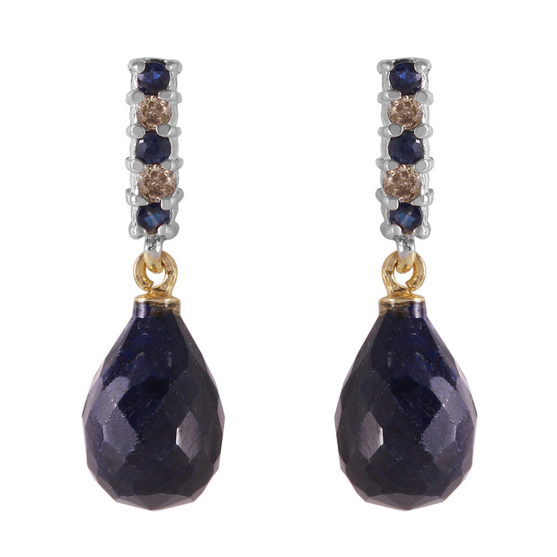 Ladies 14K Solid Gold DIAMONDS & SAPPHIRES EARRINGS WITH DANGLING BRIOLETTE SAPPHIRES - Fashion Strada