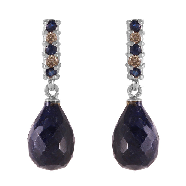 Ladies 14K White Gold DIAMONDS & SAPPHIRES EARRINGS WITH DANGLING BRIOLETTE SAPPHIRES - Fashion Strada