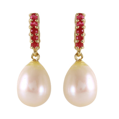 14K Solid Gold RUBY EARRINGS WITH DANGLING BRIOLETTE PEARLS