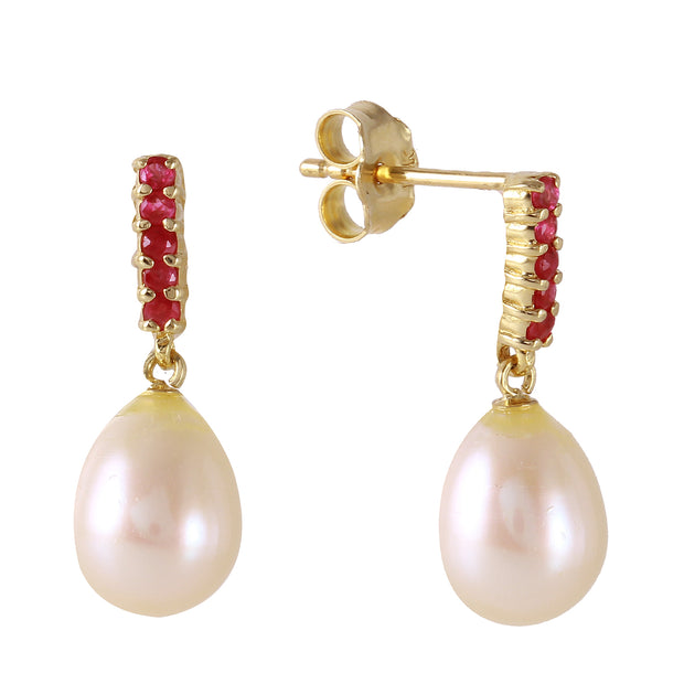 14K Solid Gold RUBY EARRINGS WITH DANGLING BRIOLETTE PEARLS - Fashion Strada
