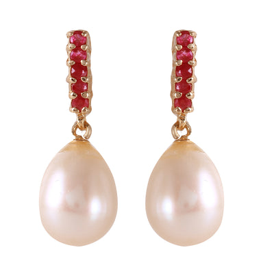 14K Rose Gold RUBY EARRINGS WITH DANGLING BRIOLETTE PEARLS - Fashion Strada
