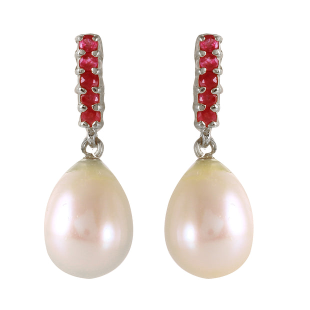 14K White Gold RUBY EARRINGS WITH DANGLING BRIOLETTE PEARLS - Fashion Strada