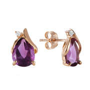 Ladies Amethyst 14K Rose Gold Earrings - Fashion Strada