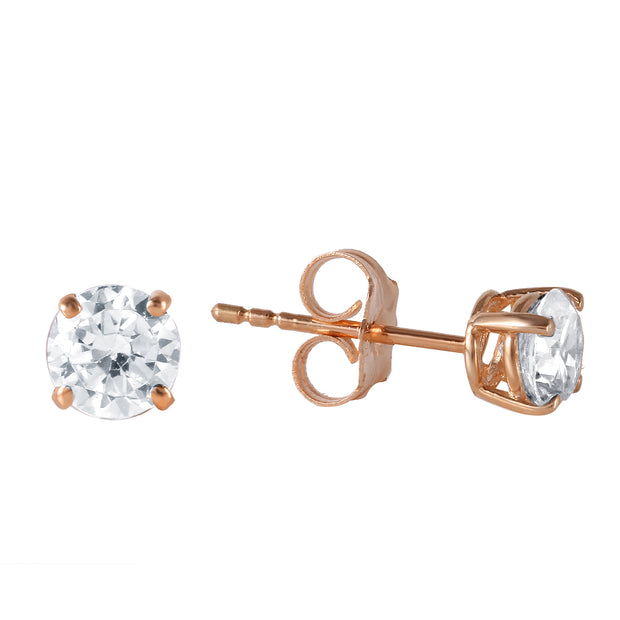 Diamond 14K Rose Gold Ladies Earrings - Fashion Strada