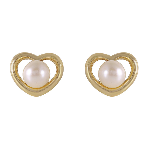 Ladies 14K. Solid Gold HEARTSTUD EARRINGS WITH PEARLS - Fashion Strada