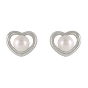 Ladies 14K. White Gold HEARTSTUD EARRINGS WITH PEARLS - Fashion Strada