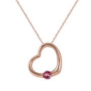 Ladies 14K Rose Gold HEART NECKLACE WITH NATURAL PINK TOPAZ - Fashion Strada