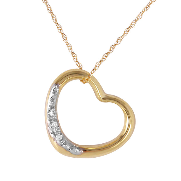 Ladies 14K Solid Gold HEART NECKLACE WITH NATURAL DIAMOND - Fashion Strada