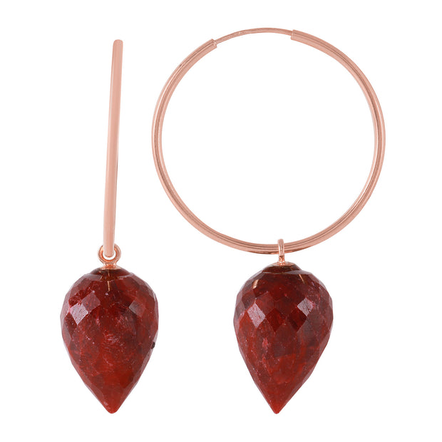 Ladies 14K. Rose Gold HOOP EARRINGS WITH POINTY BRIOLETTE DROP DYED RUBIES - Fashion Strada